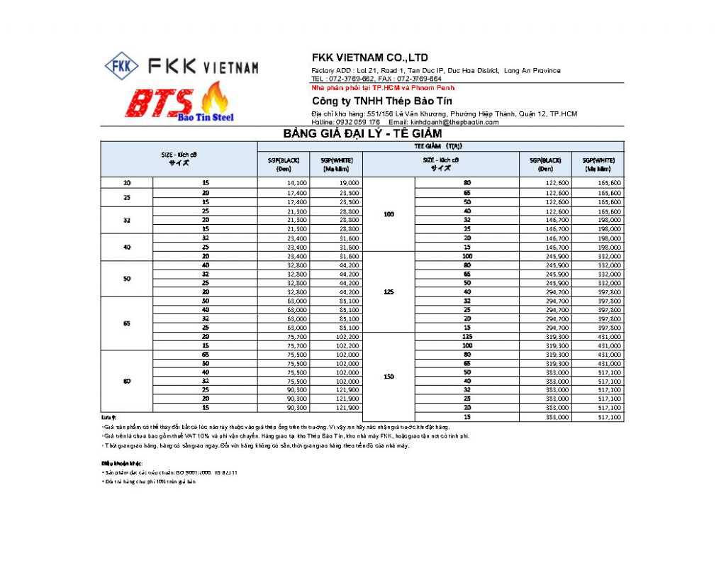 Price list of tee reducing FKK for agents